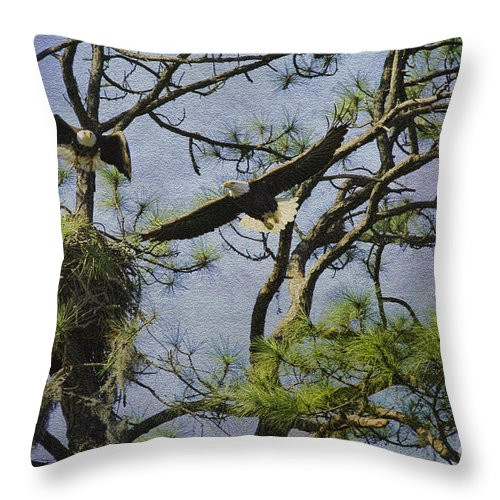 Eagles Throw Pillow featuring the photograph Eagle Pair And Nest by Deborah Benoit