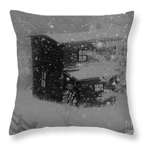Early Blizzard At The Old Homestead Throw Pillow featuring the painting Early Blizzard At The Old Homestead by Barbara Griffin