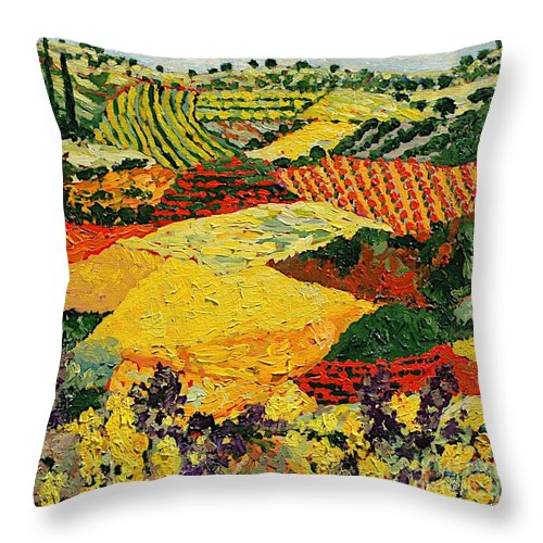 Landscape Throw Pillow featuring the painting Early Clouds by Allan P Friedlander