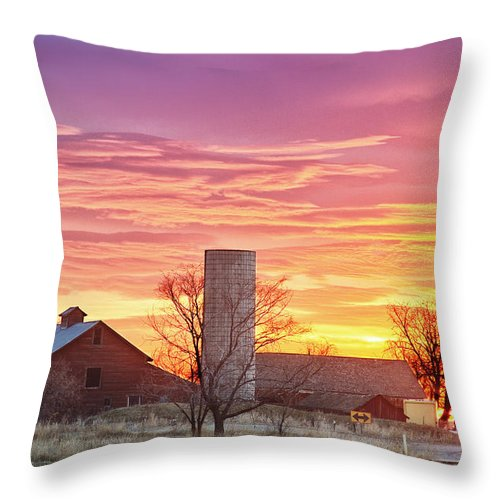 Early Throw Pillow featuring the photograph Early Country Morning Sunrise by James BO Insogna