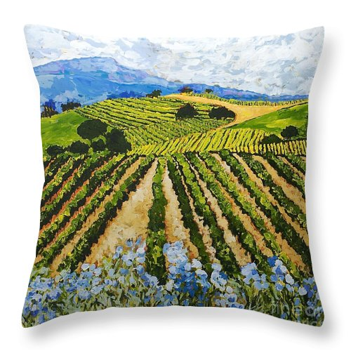 Landscape Throw Pillow featuring the painting Early Crop by Allan P Friedlander