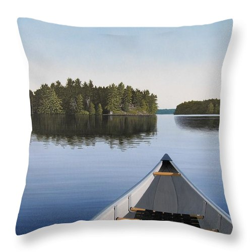 Canoe Throw Pillow featuring the painting Early Evening Paddle Aka Paddle Muskoka by Kenneth M Kirsch