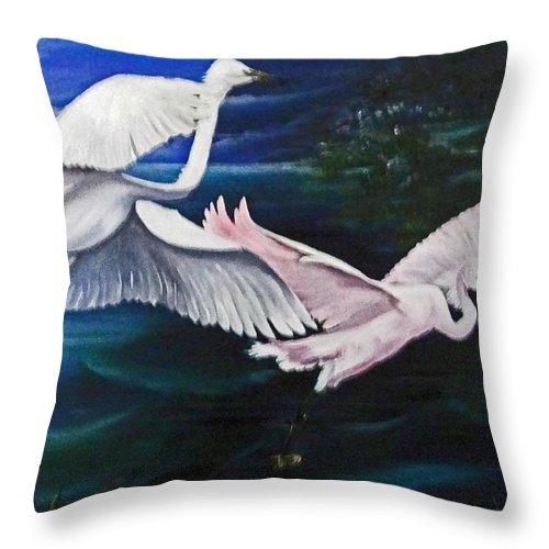 Snowy Egrets Throw Pillow featuring the painting Early Flight by Karin Dawn Kelshall- Best