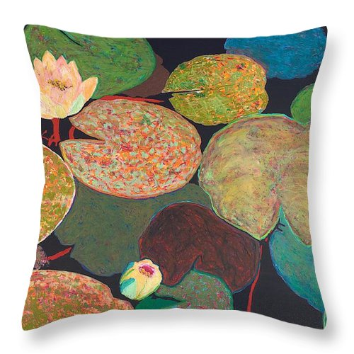 Landscape Throw Pillow featuring the painting Early Mist by Allan P Friedlander