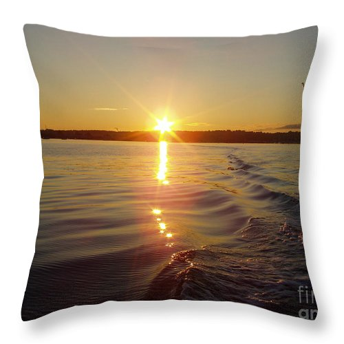 Early Morning Fishing Throw Pillow featuring the photograph Early Morning Fishing by John Telfer