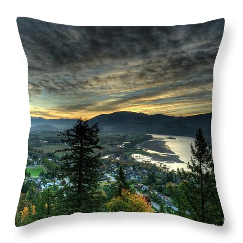 Mission Bc Throw Pillow featuring the photograph Early Morning From The Abby by Rod Wiens