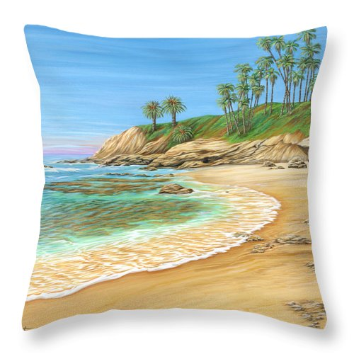 Beach Throw Pillow featuring the painting Early Morning Laguna by Jane Girardot
