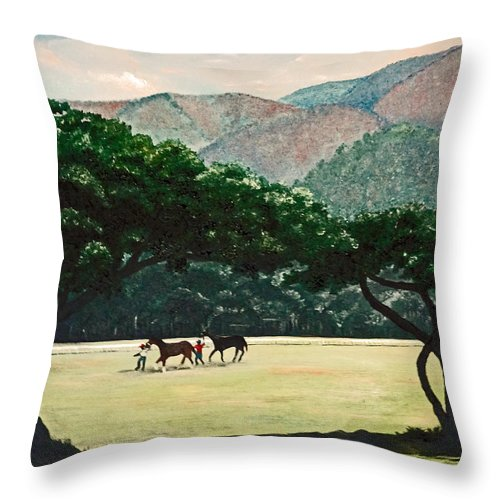 Trees Throw Pillow featuring the painting Early Morning Savannah by Karin Dawn Kelshall- Best