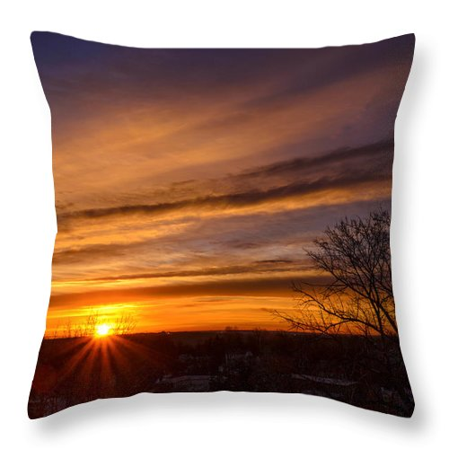 Sun Throw Pillow featuring the photograph Early Morning Star by AE Jones