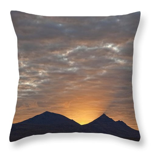 Highway Throw Pillow featuring the photograph Early Morning Sunlight Shining From by Robert Postma