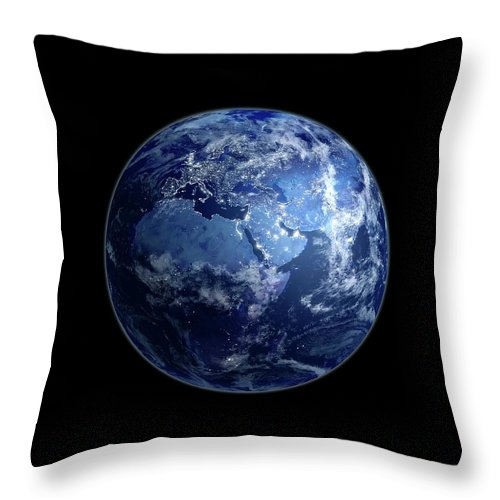Globe Throw Pillow featuring the digital art Earth At Night, Artwork by Science Photo Library - Andrzej Wojcicki