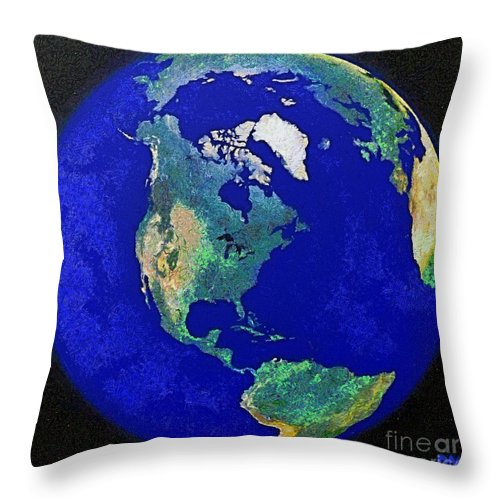 Earth Globe Throw Pillow featuring the painting Earth From Space America by Dragica Micki Fortuna