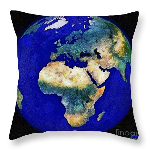 Earth Throw Pillow featuring the digital art Earth From Space Europe And Africa by Dragica Micki Fortuna