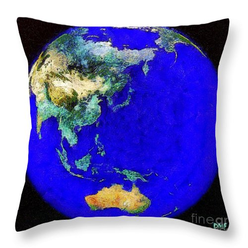 Earth Throw Pillow featuring the painting Earth Seen From Space Australia And Azia by Dragica Micki Fortuna