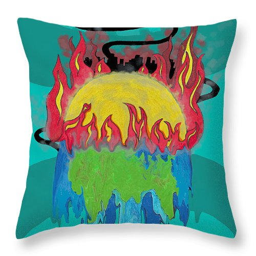 Earth Throw Pillow featuring the drawing Earth's Melt Down by Tammy Ishmael - Eizman