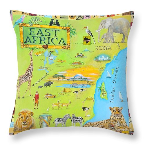 East Africa Throw Pillow featuring the painting East Africa by Virginia Ann Hemingson