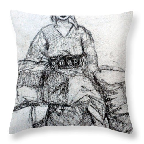 Asia Throw Pillow featuring the drawing East Asian Woman by Paul Sutcliffe