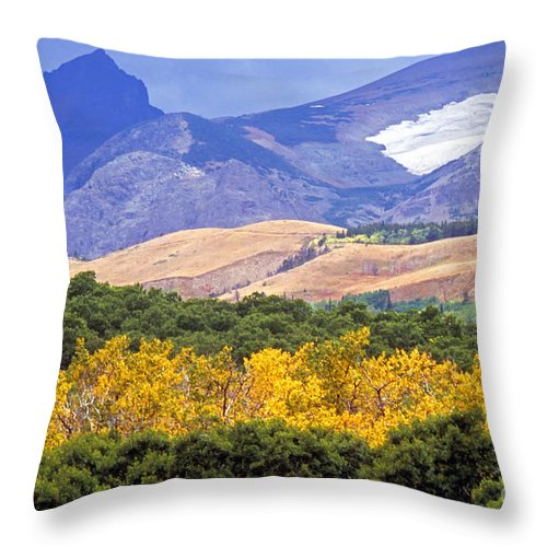 Rocky Mountains Throw Pillow featuring the photograph East Glacier Fall by Randy Beacham