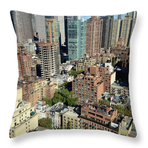 Aerial Throw Pillow featuring the photograph East Midtown Aerial by Jannis Werner