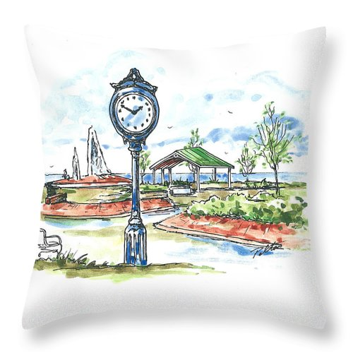 Pen And Ink Throw Pillow featuring the painting East Tawas Harbor Park by Robin Pelton