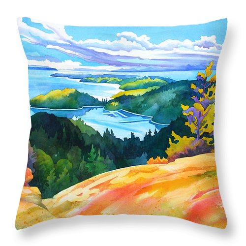Seascape Throw Pillow featuring the painting Easter Bluff View by Dianne Bersea