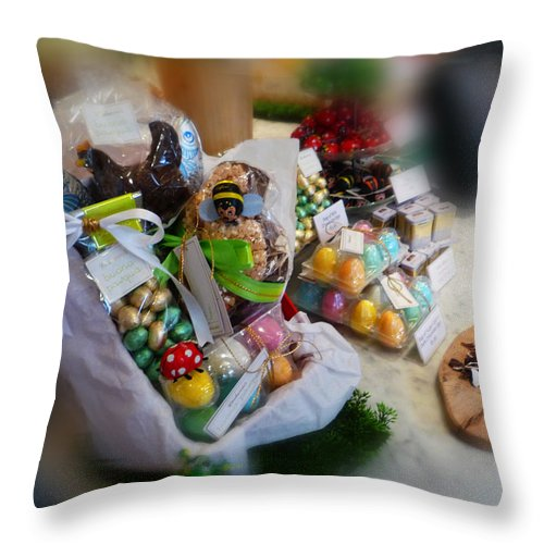 Easter Throw Pillow featuring the painting Easter Chocolate by Charles Stuart
