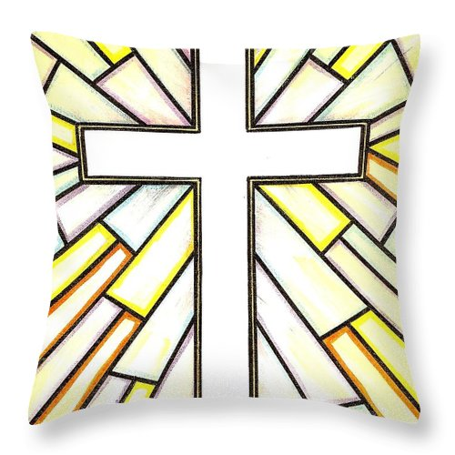Cross Throw Pillow featuring the painting Easter Cross 3 by Jim Harris