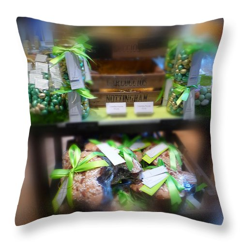 Easter Eggs Throw Pillow featuring the painting Easter Green by Charles Stuart