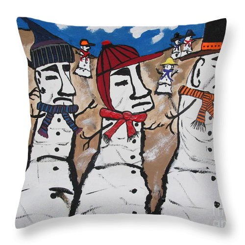 Throw Pillow featuring the painting Easter Island Snow Men by Jeffrey Koss