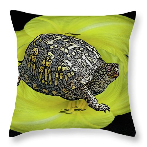 Turtle Throw Pillow featuring the photograph Eastern Box Turtle On Yellow Lily by Mother Nature