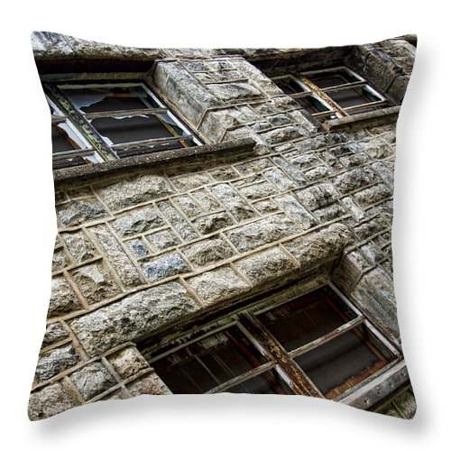 Eastern State Penitentiary Throw Pillow featuring the photograph Eastern State Windows by Michael Dorn