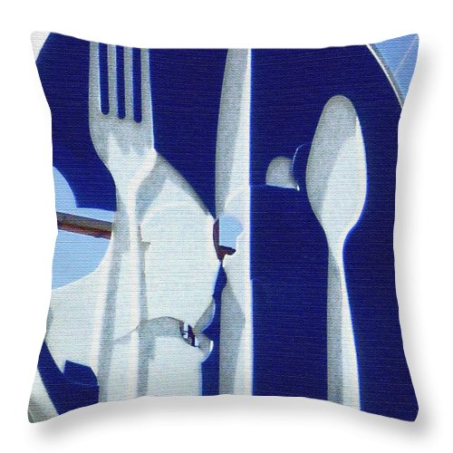 Fork Spoon Knife Throw Pillow featuring the photograph EAT by Gabe Arroyo