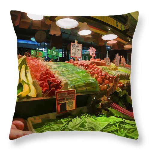 Market Throw Pillow featuring the photograph Eat Your Fruits And Vegetables by Scott Campbell