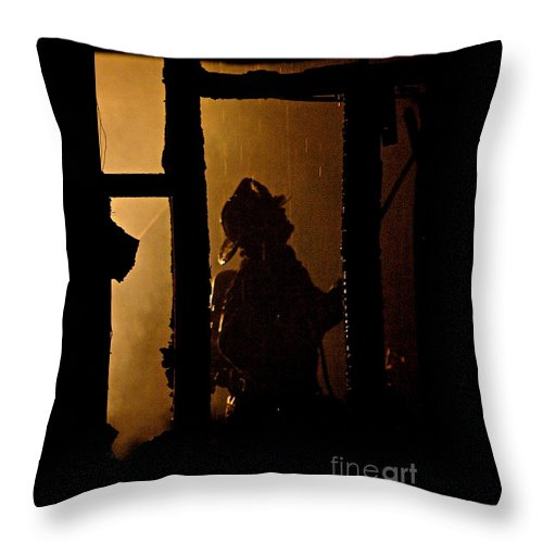Frank J Casella Throw Pillow featuring the photograph Truck Company Ops. by Frank J Casella