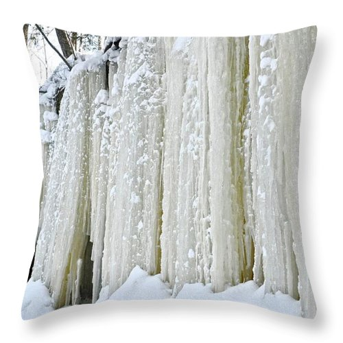 Upper Peninsula Throw Pillow featuring the photograph Eben Ice Caves by Kathryn Lund Johnson