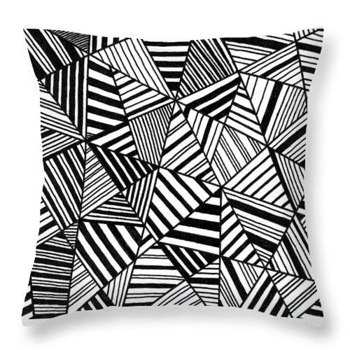 Black And White Throw Pillow featuring the painting Ebony And Ivory by Susie Weber
