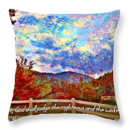 Jesus Throw Pillow featuring the digital art Ecclesiastes 3 17 by Michelle Greene Wheeler