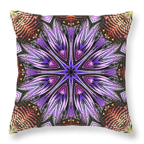 Mandala Throw Pillow featuring the photograph Echinacea Flower Mandala by Beth Sawickie