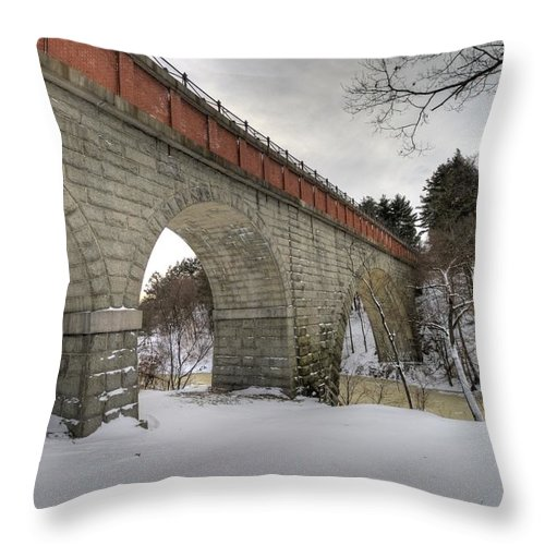 Located In Hemlock Gorge In Newton Upper Falls Throw Pillow featuring the photograph Echo Bridge Newton Upper Falls Massachusetts by Stas Burdan