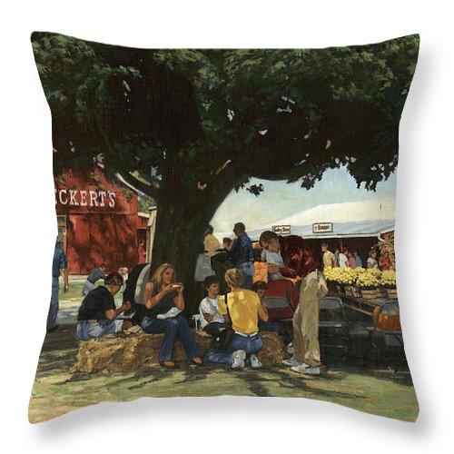 Don Langeneckert Throw Pillow featuring the painting Eckert's Market Under Big Tree by Don Langeneckert