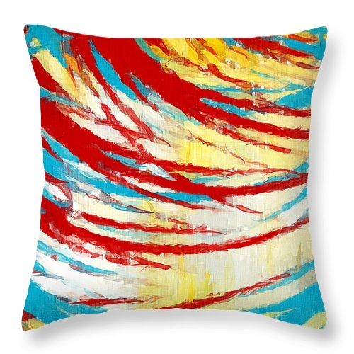 Yellow Throw Pillow featuring the painting Eclectic Rays by Lourry Legarde