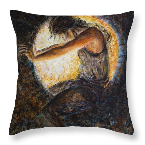 Eclipsed Throw Pillow featuring the painting Eclipsed by Nik Helbig