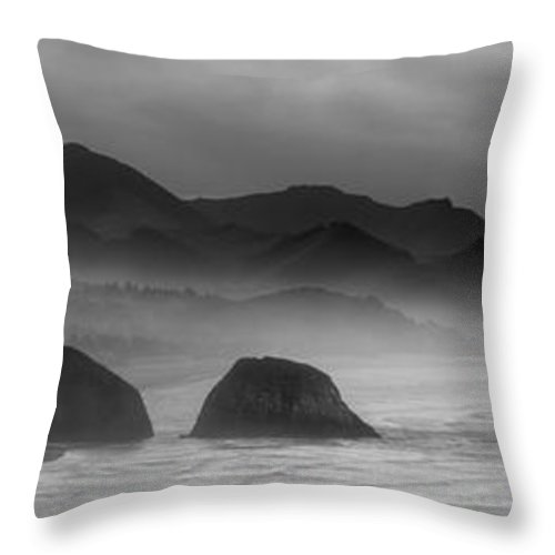 haystack Rock Throw Pillow featuring the photograph Ecola State Park - Oregon State Coast by Daniel Hagerman