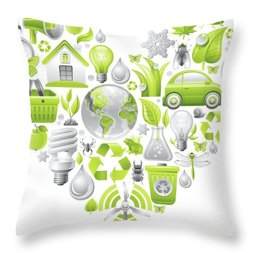 Environmental Conservation Throw Pillow featuring the digital art Ecological Concept In Heart On White by O-che