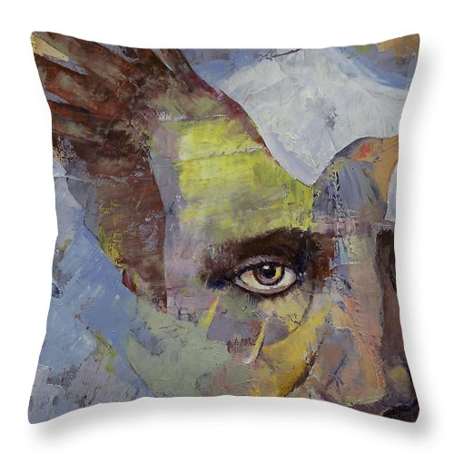 Edgar Allan Poe Throw Pillow featuring the painting Poe by Michael Creese