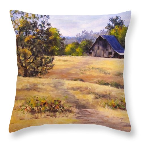 Landscape Throw Pillow featuring the painting Edge of Autumn by Karen Ilari