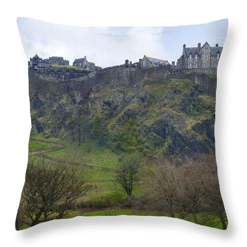 Landscape Throw Pillow featuring the photograph Edinburgh Castle - Scotland by Mike McGlothlen