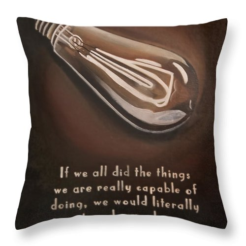 Edison Throw Pillow featuring the painting Edison by Erin Brinkman
