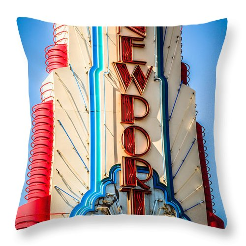 America Throw Pillow featuring the photograph Edwards Big Newport Theatre Sign In Newport Beach by Paul Velgos