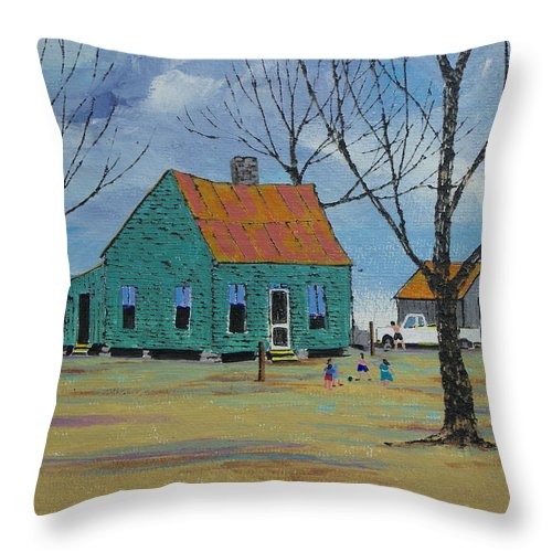 Primitive Throw Pillow featuring the painting Egg Farm by Ken Blacktop Gentle